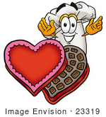 #23319 Clip Art Graphic Of A White Chefs Hat Cartoon Character With An Open Box Of Valentines Day Chocolate Candies