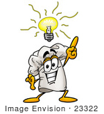 #23322 Clip Art Graphic Of A White Chefs Hat Cartoon Character With A Bright Idea