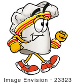 #23323 Clip Art Graphic Of A White Chefs Hat Cartoon Character Speed Walking Or Jogging