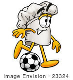 #23324 Clip Art Graphic Of A White Chefs Hat Cartoon Character Kicking A Soccer Ball