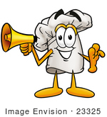 #23325 Clip Art Graphic Of A White Chefs Hat Cartoon Character Holding A Megaphone