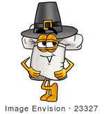 #23327 Clip Art Graphic Of A White Chefs Hat Cartoon Character Wearing A Pilgrim Hat On Thanksgiving