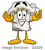 #23329 Clip Art Graphic of a White Chefs Hat Cartoon Character With Welcoming Open Arms by toons4biz