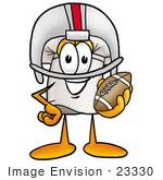 #23330 Clip Art Graphic Of A White Chefs Hat Cartoon Character In A Helmet Holding A Football