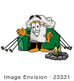 #23331 Clip Art Graphic Of A White Chefs Hat Cartoon Character Camping With A Tent And Fire