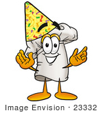 #23332 Clip Art Graphic Of A White Chefs Hat Cartoon Character Wearing A Birthday Party Hat
