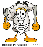 #23335 Clip Art Graphic Of A White Chefs Hat Cartoon Character Holding A Knife And Fork