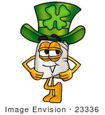 #23336 Clip Art Graphic Of A White Chefs Hat Cartoon Character Wearing A Saint Patricks Day Hat With A Clover On It