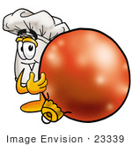 #23339 Clip Art Graphic Of A White Chefs Hat Cartoon Character Standing With A Christmas Bauble