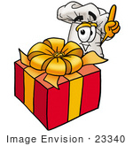 #23340 Clip Art Graphic Of A White Chefs Hat Cartoon Character Standing By A Christmas Present