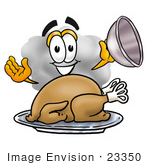 #23350 Clip Art Graphic Of A Puffy White Cumulus Cloud Cartoon Character Serving A Thanksgiving Turkey On A Platter