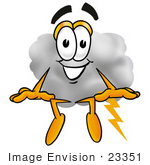 #23351 Clip Art Graphic Of A Puffy White Cumulus Cloud Cartoon Character Sitting