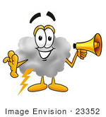 #23352 Clip Art Graphic Of A Puffy White Cumulus Cloud Cartoon Character Holding A Megaphone
