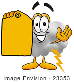 #23353 Clip Art Graphic Of A Puffy White Cumulus Cloud Cartoon Character Holding A Yellow Sales Price Tag