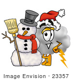 #23357 Clip Art Graphic Of A Puffy White Cumulus Cloud Cartoon Character With A Snowman On Christmas