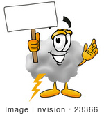 #23366 Clip Art Graphic Of A Puffy White Cumulus Cloud Cartoon Character Holding A Blank Sign