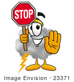 #23371 Clip Art Graphic Of A Puffy White Cumulus Cloud Cartoon Character Holding A Stop Sign