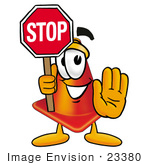 #23380 Clip Art Graphic Of A Construction Traffic Cone Cartoon Character Holding A Stop Sign