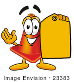 #23383 Clip Art Graphic Of A Construction Traffic Cone Cartoon Character Holding A Yellow Sales Price Tag