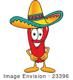 #23396 Clip Art Graphic of a Red Chilli Pepper Cartoon Character Wearing a Sombrero Hat by toons4biz
