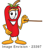 #23397 Clip Art Graphic Of A Red Chilli Pepper Cartoon Character Holding A Pointer Stick
