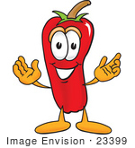 #23399 Clip Art Graphic Of A Red Chilli Pepper Cartoon Character With Welcoming Open Arms