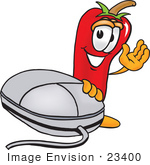#23400 Clip Art Graphic Of A Red Chilli Pepper Cartoon Character With A Computer Mouse