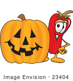#23404 Clip Art Graphic Of A Red Chilli Pepper Cartoon Character With A Carved Halloween Pumpkin