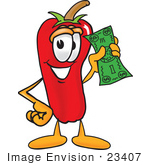 #23407 Clip Art Graphic Of A Red Chilli Pepper Cartoon Character Holding A Dollar Bill