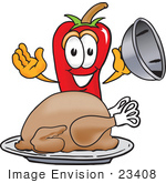 #23408 Clip Art Graphic Of A Red Chilli Pepper Cartoon Character Serving A Thanksgiving Turkey On A Platter