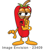 #23409 Clip Art Graphic Of A Red Chilli Pepper Cartoon Character Whispering And Gossiping