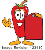 #23410 Clip Art Graphic Of A Red Chilli Pepper Cartoon Character Holding A Red Sales Price Tag