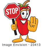 #23413 Clip Art Graphic Of A Red Chilli Pepper Cartoon Character Holding A Stop Sign