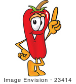 #23414 Clip Art Graphic Of A Red Chilli Pepper Cartoon Character Pointing Upwards