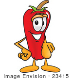#23415 Clip Art Graphic Of A Red Chilli Pepper Cartoon Character Pointing At The Viewer