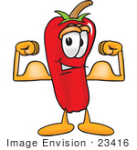 #23416 Clip Art Graphic Of A Red Chilli Pepper Cartoon Character Flexing His Arm Muscles