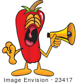 #23417 Clip Art Graphic Of A Red Chilli Pepper Cartoon Character Screaming Into A Megaphone