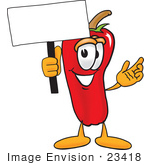 #23418 Clip Art Graphic Of A Red Chilli Pepper Cartoon Character Holding A Blank Sign