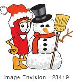 #23419 Clip Art Graphic Of A Red Chilli Pepper Cartoon Character With A Snowman On Christmas