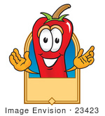 #23423 Clip Art Graphic Of A Red Chilli Pepper Cartoon Character Label