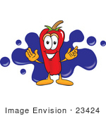 #23424 Clip Art Graphic Of A Red Chilli Pepper Cartoon Character Logo With Blue Paint Splatters