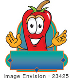 #23425 Clip Art Graphic Of A Red Chilli Pepper Cartoon Character Label