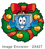 #23427 Clip Art Graphic Of A Desktop Computer Cartoon Character In The Center Of A Christmas Wreath