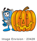 #23428 Clip Art Graphic of a Desktop Computer Cartoon Character With a Carved Halloween Pumpkin by toons4biz