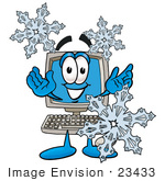 #23433 Clip Art Graphic of a Desktop Computer Cartoon Character With Three Snowflakes in Winter by toons4biz