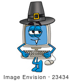 #23434 Clip Art Graphic Of A Desktop Computer Cartoon Character Wearing A Pilgrim Hat On Thanksgiving