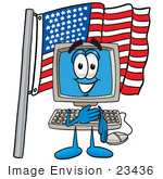 #23436 Clip Art Graphic Of A Desktop Computer Cartoon Character Pledging Allegiance To An American Flag