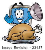 #23437 Clip Art Graphic of a Desktop Computer Cartoon Character Serving a Thanksgiving Turkey on a Platter by toons4biz