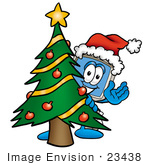 #23438 Clip Art Graphic Of A Desktop Computer Cartoon Character Waving And Standing By A Decorated Christmas Tree