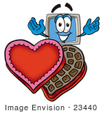 #23440 Clip Art Graphic Of A Desktop Computer Cartoon Character With An Open Box Of Valentines Day Chocolate Candies